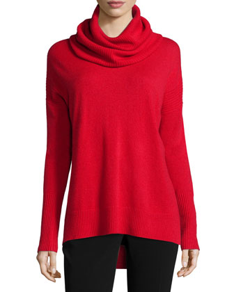 Ahiga Slim 2 Cashmere Pullover Sweater, Poppy/Black