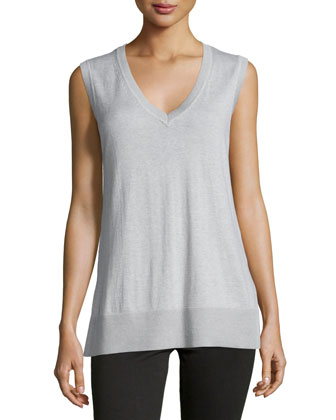 Derek Lam 10C/CUSP Sleeveless V-Neck Knit Front & Plaid Back Shell