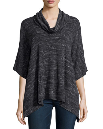Cowl-Neck Pullover Sweater, Black/White