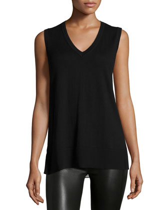 Derek Lam 10C/CUSP Sleeveless V-Neck Knit Front & Leopard-Print Back Shell