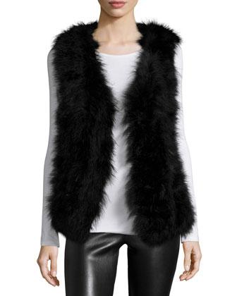 Marisa Open-Front Feather Vest, Black