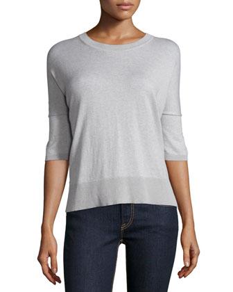 Short-Sleeve Plaid-Back Top