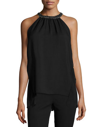 Florence Halter Top W/Beaded-Neck