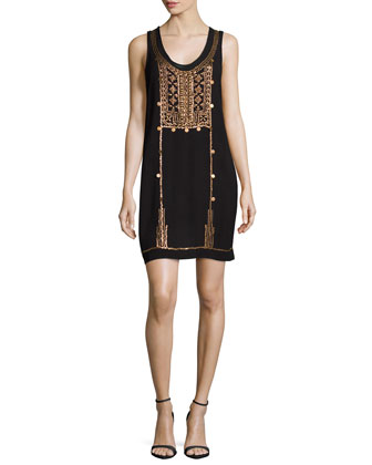 Afghan Metal Embellished Tank Dress, Black