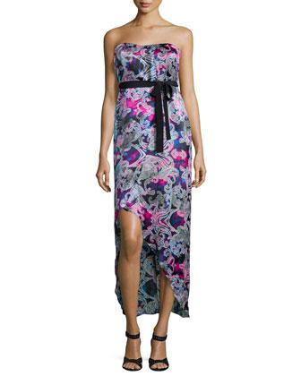 Strapless ???70s Midi Dress, Wave Print