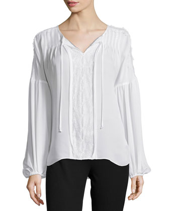 Marin Lace-Trim Tie-Neck Blouse