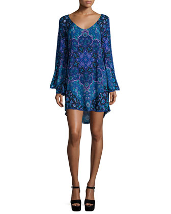 Kiss The Sky Long-Sleeve Mini Dress, Blue Jay