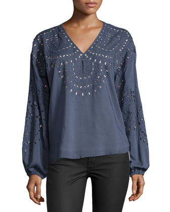 Long-Sleeve Embroidered Top W/Cutouts, Charcoal