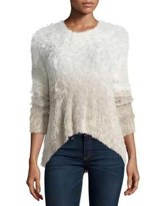 Camille Long-Sleeve Ombre Sweater, White
