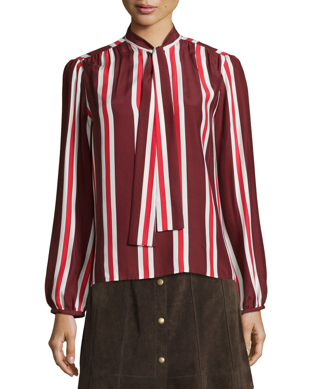 Le Wrap Neck-Tie Shirt, Burgundy, Women's, Size: XS, Burgundy Multi St - FRAME DENIM