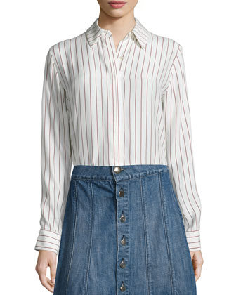 Le Classic Pleat Shirt, Gardena Stripe
