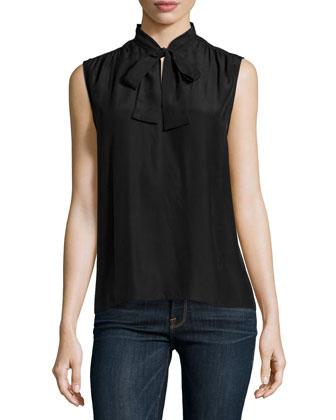 Le Sleeveless Neck-Tie Shirt, Noir