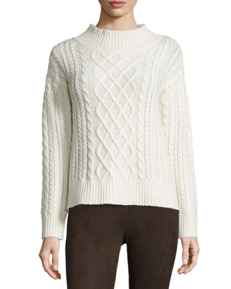 Long-Sleeve Cable Sweater, Calico