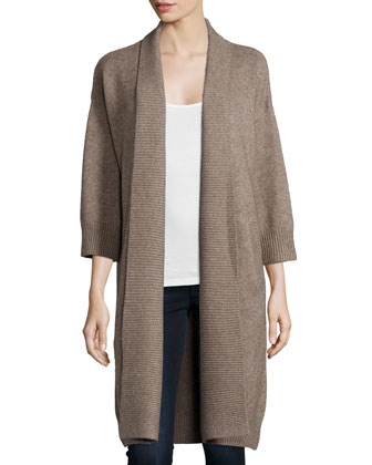 3/4-Sleeve Open-Front Oversized Cardigan, Millet