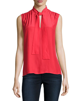 Le Sleeveless Neck-Tie Shirt, Lipstick Red