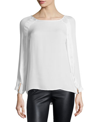 Long-Sleeve Round-Neck Top, Linen White
