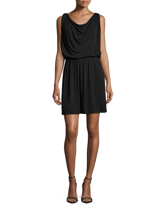 Sleeveless Blouson Cocktail Dress, Black