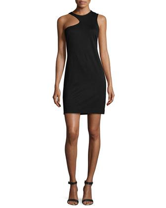 Sleeveless Jewel-Neck Cocktail Dress, Black