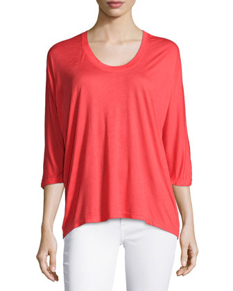 3/4-Sleeve Scoop-Neck Top, Poppy