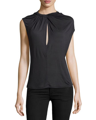 Gathered-Neck Keyhole Top, Charcoal
