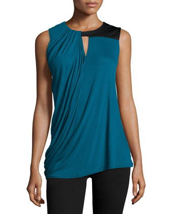 Scoop-Neck Blouson Tank Top, Atlantic