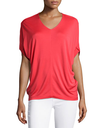 V-Neck Short-Sleeve Top, Poppy