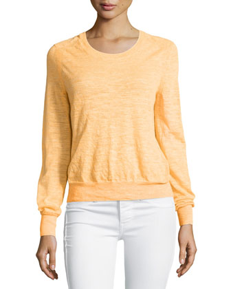 Round-Neck Long-Sleeve Sweater, Nectar