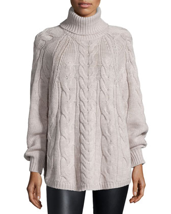 Long-Sleeve Cable-Knit Sweater, Natural