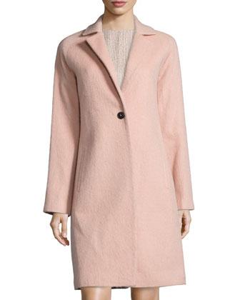 Slim-Fit Mid-Length Coat, Quartz Pink