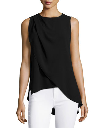 Sleeveless Jewel-Neck Top, Black
