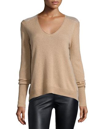 Long-Sleeve V-Neck Cashmere Sweater, Camel