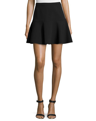 Fit-&-Flare Mini Skirt, Black