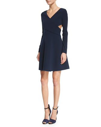 Long-Sleeve Crisscross Fit & Flare Dress