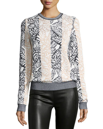 Long-Sleeve Frond-Print Sweater, Sheer Pink Multi