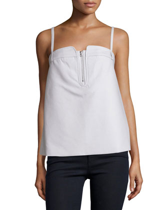 Petal Sleeveless Half-Zip Tank, Clay Gray