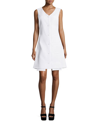 Mallory Button-Front Welt Dress, White