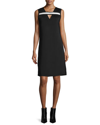 Sleeveless Shift Dress W/Contrast Trim, Black