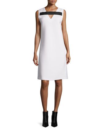 Sleeveless Shift Dress W/Contrast Trim, White