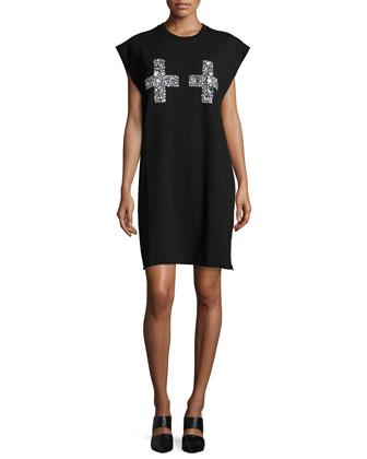 ASCII Embellished Shift Dress, Black