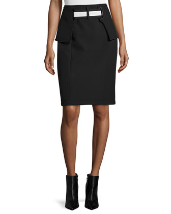 Rory Two-Tone Pencil Skirt, Black