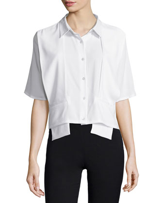 Glide Short-Sleeve Boxy Top, White