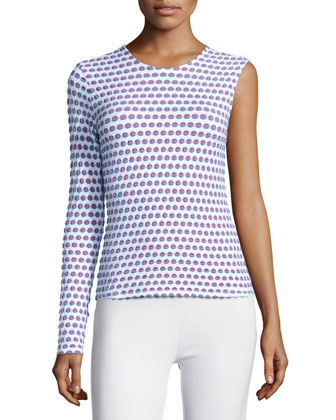 Cabana One-Sleeve Dot-Print Top, White Multi