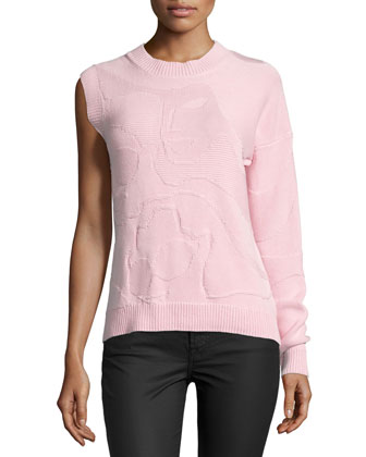 Mosaic One-Sleeve Sweater, Blush Pink