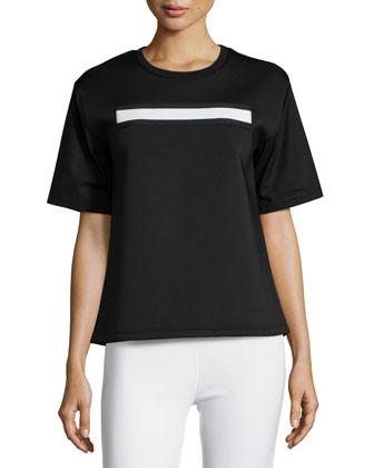 Short-Sleeve Contrast Combo Top, Black