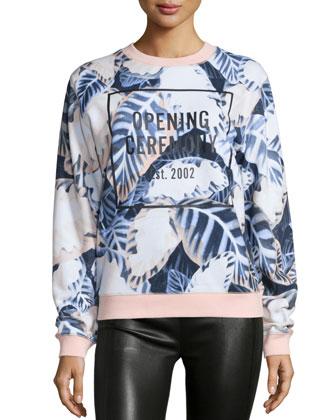 Leaf-Print Logo Sweatshirt, Blush Pink