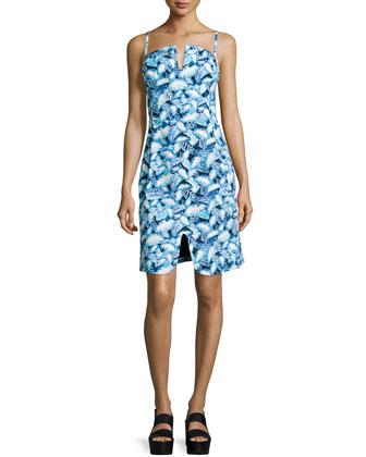 Sleeveless Leaf-Print Sheath Dress, Pelagic Blue/Multi