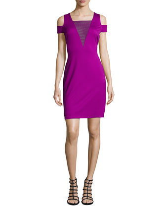 Cold-Shoulder Mesh-Inset Cocktail Dress, Electric Purple