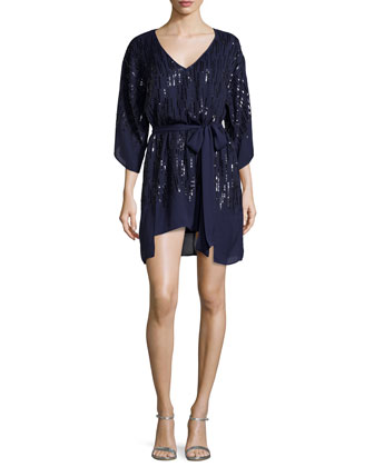 Embellished Cocktail Dress W/Tie, Midnight/Black