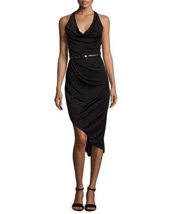 Asymmetric Halter-Neck Cocktail Dress, Black