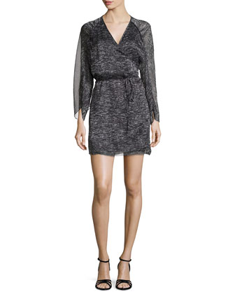 Sheer-Sleeve Cocktail Dress, Gray